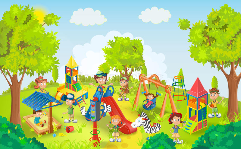 Παιδιά που παίζουν στο διάνυσμα πάρκων ελεύθερη απεικόνιση δικαιώματος