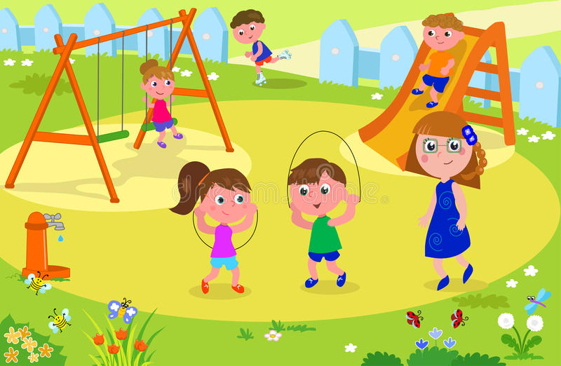 Παιδιά που παίζουν στο πάρκο με τον ενήλικο διανυσματική απεικόνιση