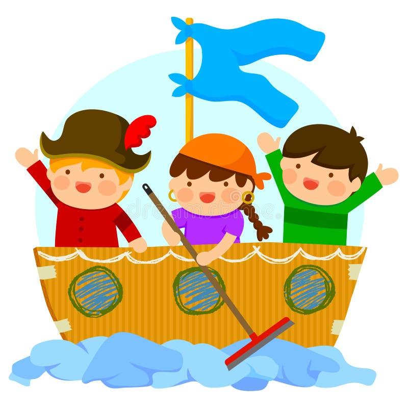 Παιδιά που παίζουν τους πειρατές διανυσματική απεικόνιση