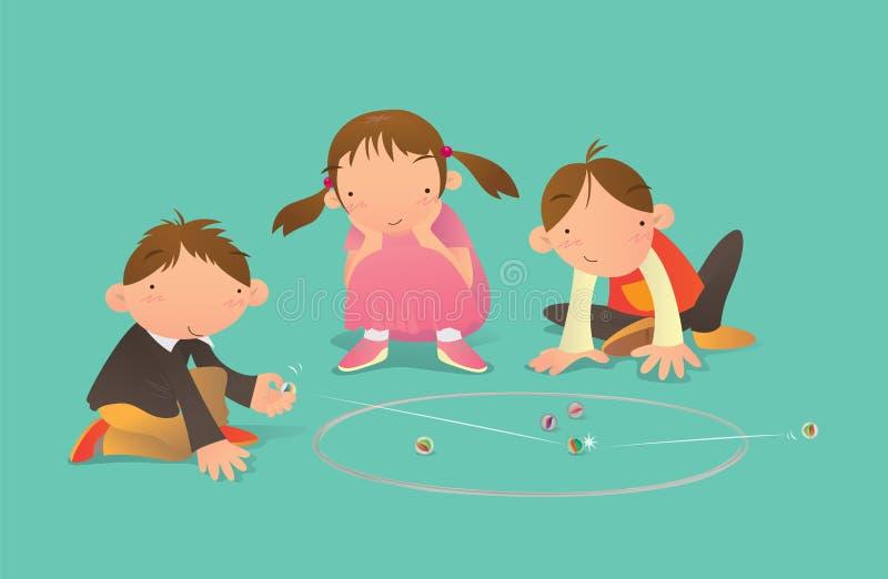 Παιδιά που παίζουν το παιχνίδι μαρμάρων διανυσματική απεικόνιση