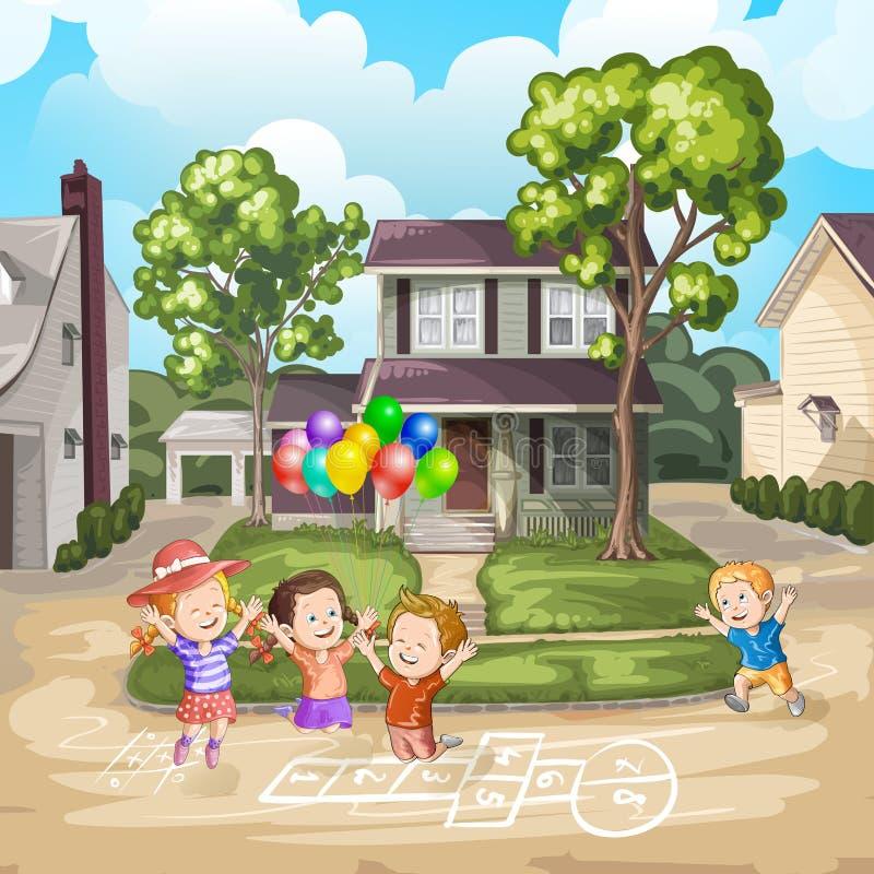 Παιδιά που παίζουν driveway απεικόνιση αποθεμάτων