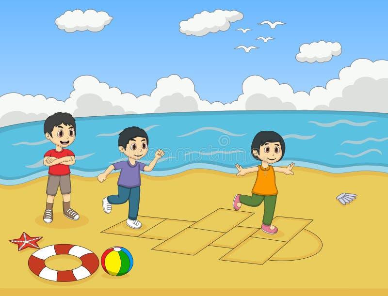 Παιδιά που παίζουν hopscotch στη διανυσματική απεικόνιση κινούμενων σχεδίων παραλιών διανυσματική απεικόνιση
