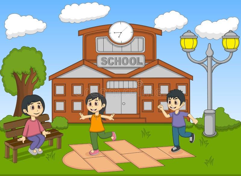 Παιδιά που παίζουν hopscotch στη διανυσματική απεικόνιση σχολικών κινούμενων σχεδίων απεικόνιση αποθεμάτων
