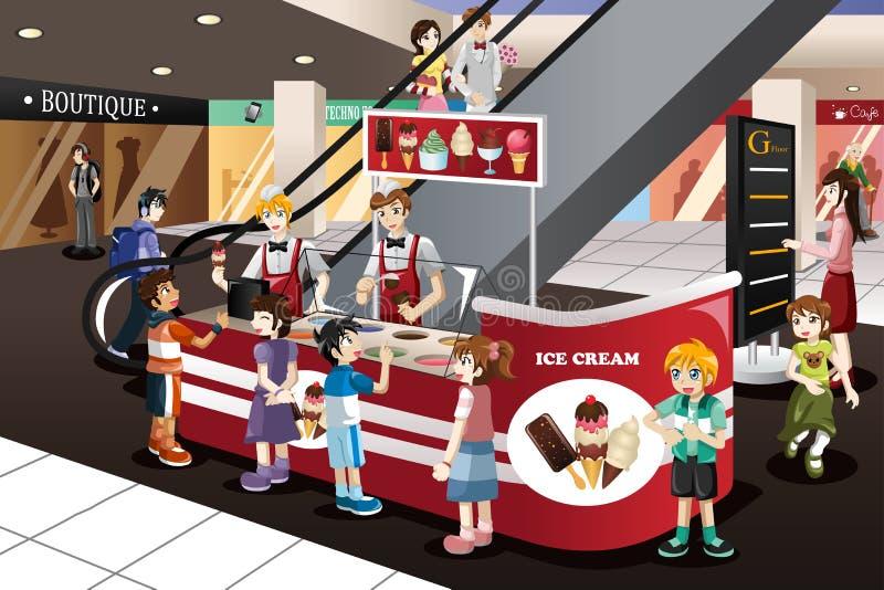 Παιδιά που περιμένουν στη γραμμή το παγωτό ελεύθερη απεικόνιση δικαιώματος
