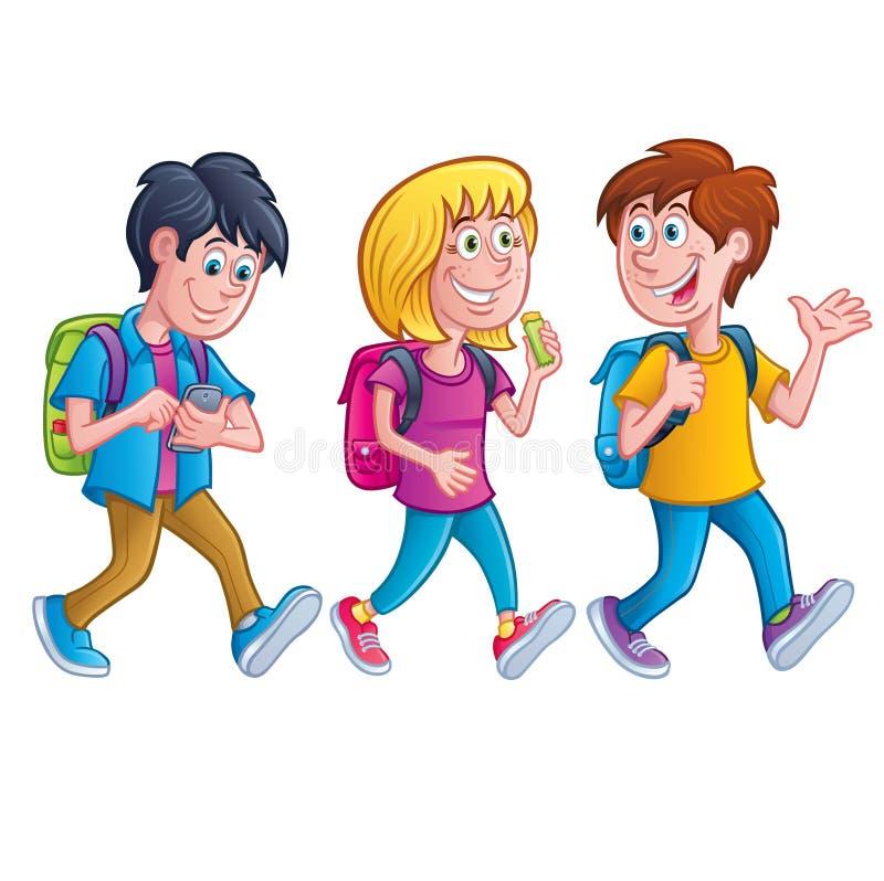 Παιδιά που περπατούν με τα σακίδια πλάτης Απεικόνιση αποθεμάτων ...