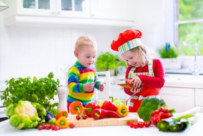 Παιδιά που προετοιμάζουν το υγιές φυτικό μεσημεριανό γεύμα στοκ εικόνες