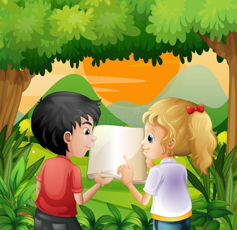 Παιδιά που συζητούν με ένα βιβλίο στο δάσος διανυσματική απεικόνιση
