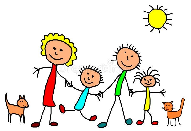 Παιδιά που σύρουν - ευτυχής οικογένεια απεικόνιση αποθεμάτων