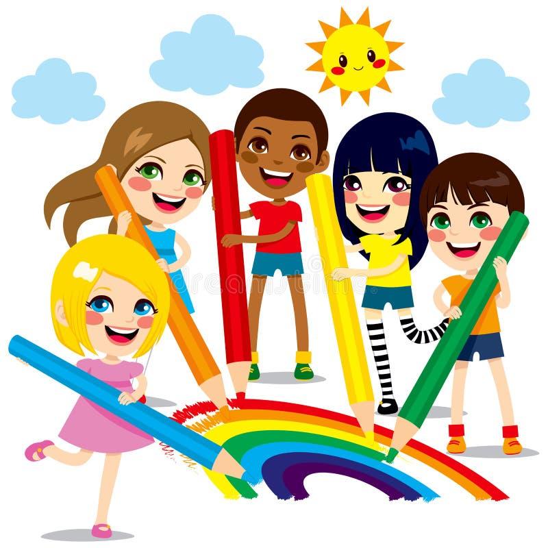 Παιδιά που σύρουν το ουράνιο τόξο διανυσματική απεικόνιση