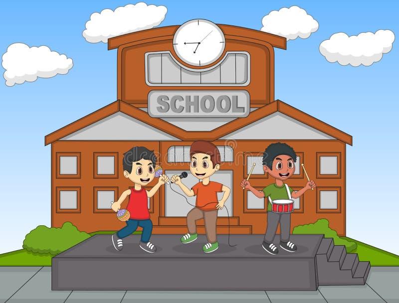 Παιδιά που τραγουδούν μπροστά από τη διανυσματική απεικόνιση σχολικών κινούμενων σχεδίων τους απεικόνιση αποθεμάτων