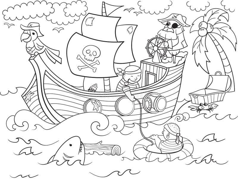 Παιδιά που χρωματίζουν στο θέμα του διανύσματος πειρατών διανυσματική απεικόνιση