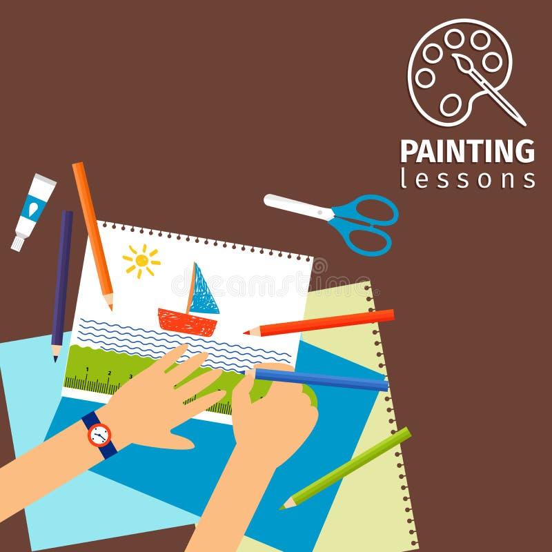 Παιδιά που χρωματίζουν τα μαθήματα διανυσματική απεικόνιση