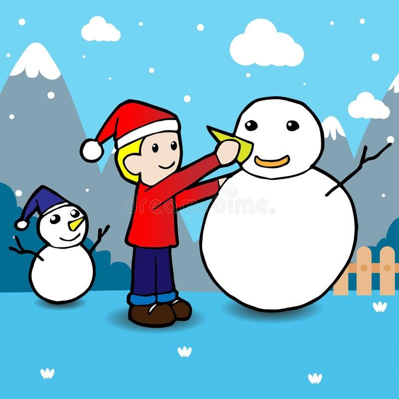 Παιδιά που χτίζουν το χιονάνθρωπο οι διακοπές αγοριών βάζουν το χειμώνα χιονιού απεικόνιση αποθεμάτων