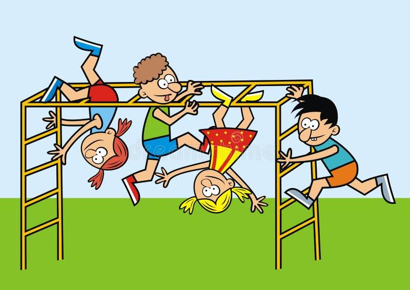 Παιδιά σε μια γυμναστική ζουγκλών διανυσματική απεικόνιση