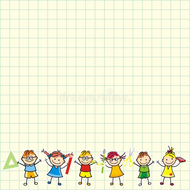 Παιδιά σε τετραγωνικό χαρτί ελεύθερη απεικόνιση δικαιώματος