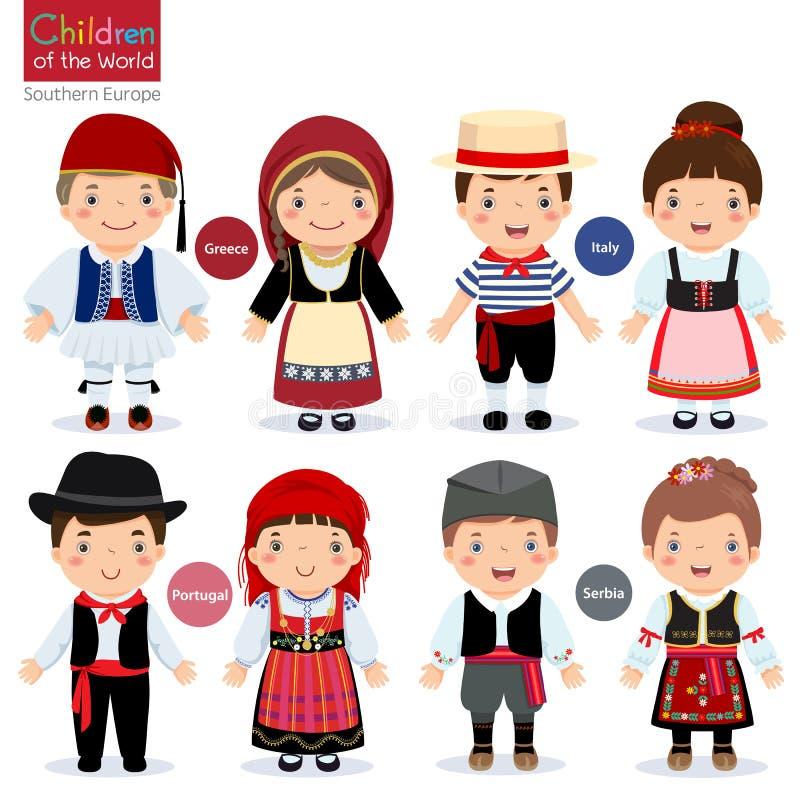 Παιδιά στα διαφορετικά παραδοσιακά κοστούμια (Ελλάδα, Ιταλία, Πορτογαλία, απεικόνιση αποθεμάτων