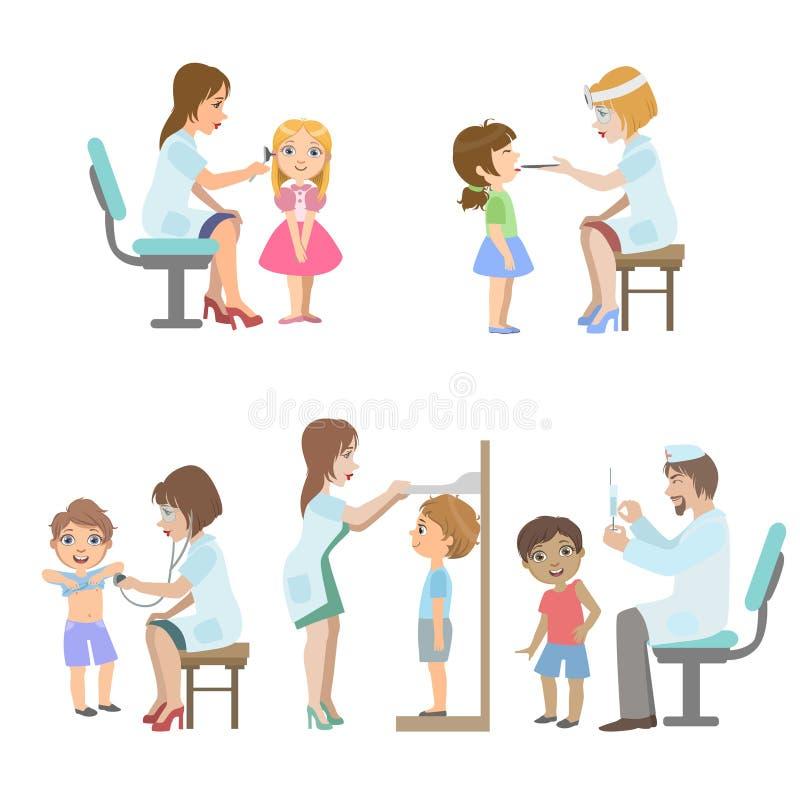 Παιδιά στη ιατρική εξέταση διανυσματική απεικόνιση