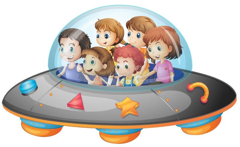 Παιδιά στο διαστημόπλοιο απεικόνιση αποθεμάτων