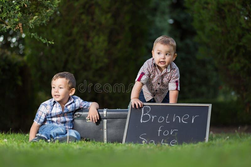 Παιδιά στο πάρκο με τους πίνακες σημαδιών για την πώληση στοκ φωτογραφίες