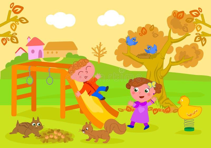 Παιδιά στο πάρκο στο διάνυσμα φθινοπώρου απεικόνιση αποθεμάτων