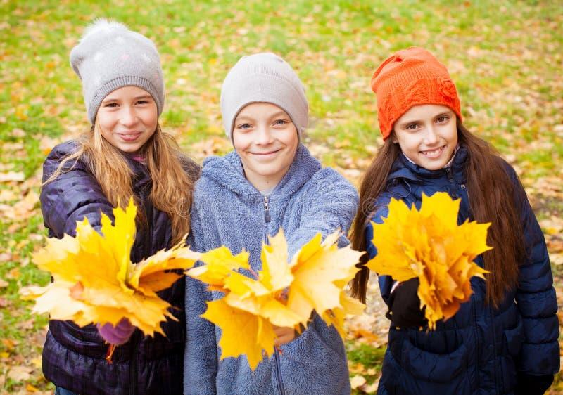 Παιδιά στο φθινόπωρο στοκ εικόνα
