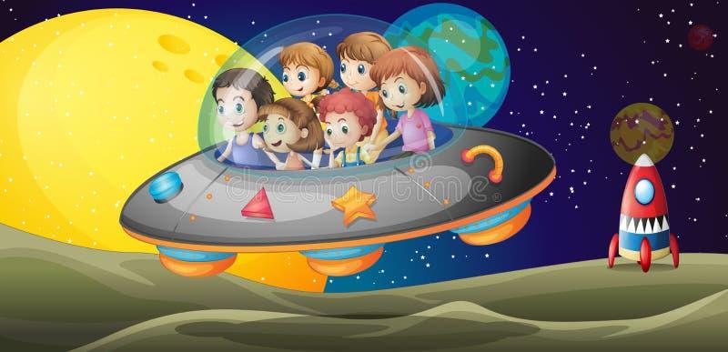 Παιδιά στο outerspace ελεύθερη απεικόνιση δικαιώματος