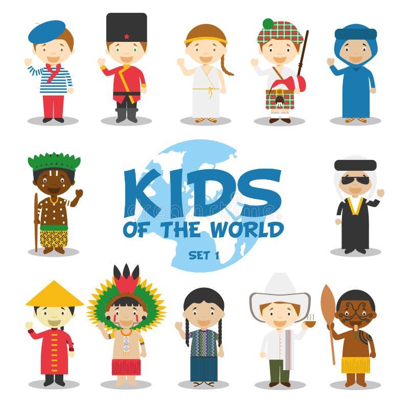 Παιδιά της παγκόσμιας απεικόνισης: Οι υπηκοότητες θέτουν 1 Σύνολο 12 χαρακτήρων που ντύνονται στα διαφορετικά εθνικά κοστούμια διανυσματική απεικόνιση
