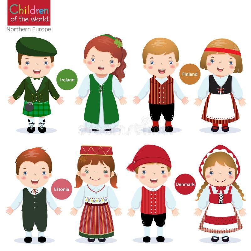 Παιδιά του κόσμου (Ιρλανδία, Φινλανδία, Εσθονία και Δανία) ελεύθερη απεικόνιση δικαιώματος
