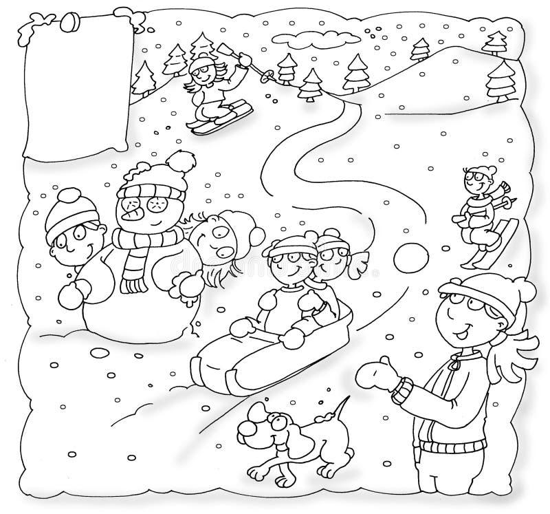 Παιδιά Χριστουγέννων με το sledding χιόνι σκυλιών, βουνά, διακοπές Χριστουγέννων ελεύθερη απεικόνιση δικαιώματος