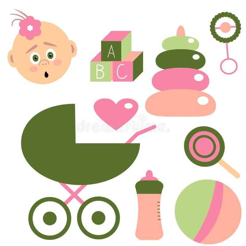 Παιδική ηλικία που τίθεται για το κοριτσάκι Στοιχεία για τα παιδιά διάνυσμα διανυσματική απεικόνιση