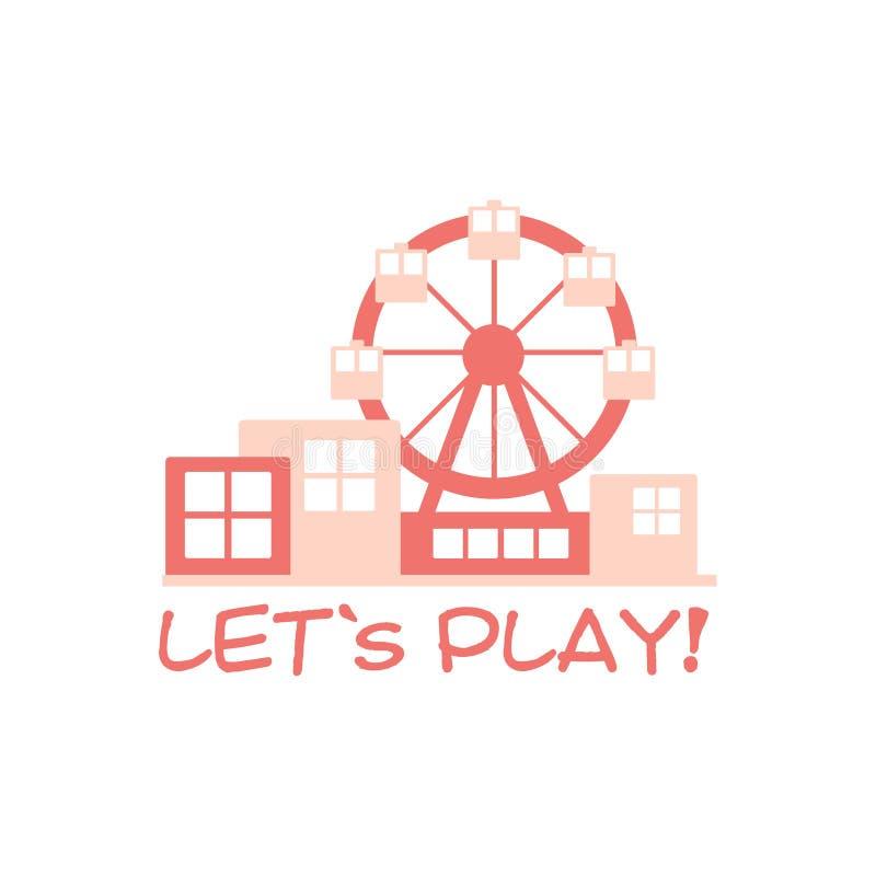 Παιδική χαρά εδάφους παιδιών και ζωηρόχρωμο σημάδι Promo λεσχών ψυχαγωγίας με τη ρόδα Ferris για το παίζοντας διάστημα για τα παι ελεύθερη απεικόνιση δικαιώματος