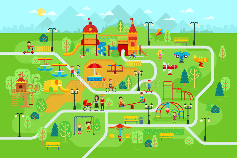 Παιδική χαρά παιδιών στο πάρκο με τους ανθρώπους και έλξη για τη διανυσματική επίπεδη απεικόνιση παιδιών ελεύθερη απεικόνιση δικαιώματος