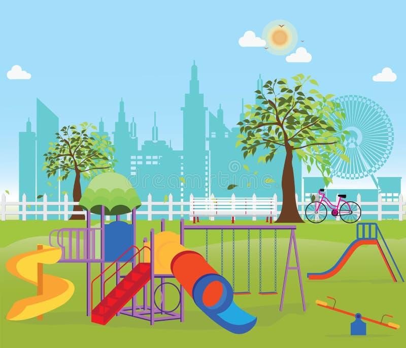 Παιδική χαρά στο δημόσιο πάρκο στην πόλη ελεύθερη απεικόνιση δικαιώματος