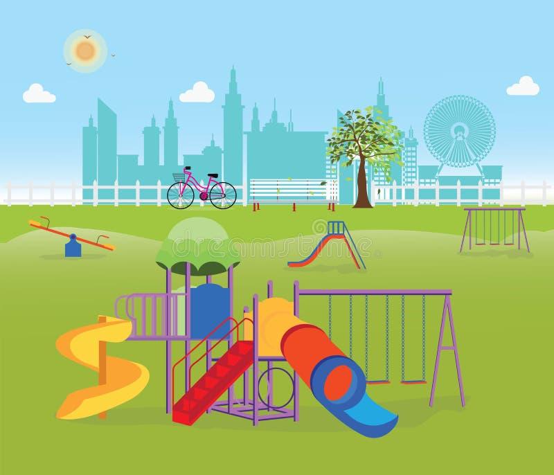 Παιδική χαρά στο δημόσιο πάρκο στην πόλη διανυσματική απεικόνιση