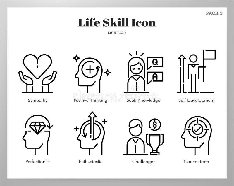 Πακέτο γραμμών εικονιδίων ικανότητας ζωής ελεύθερη απεικόνιση δικαιώματος
