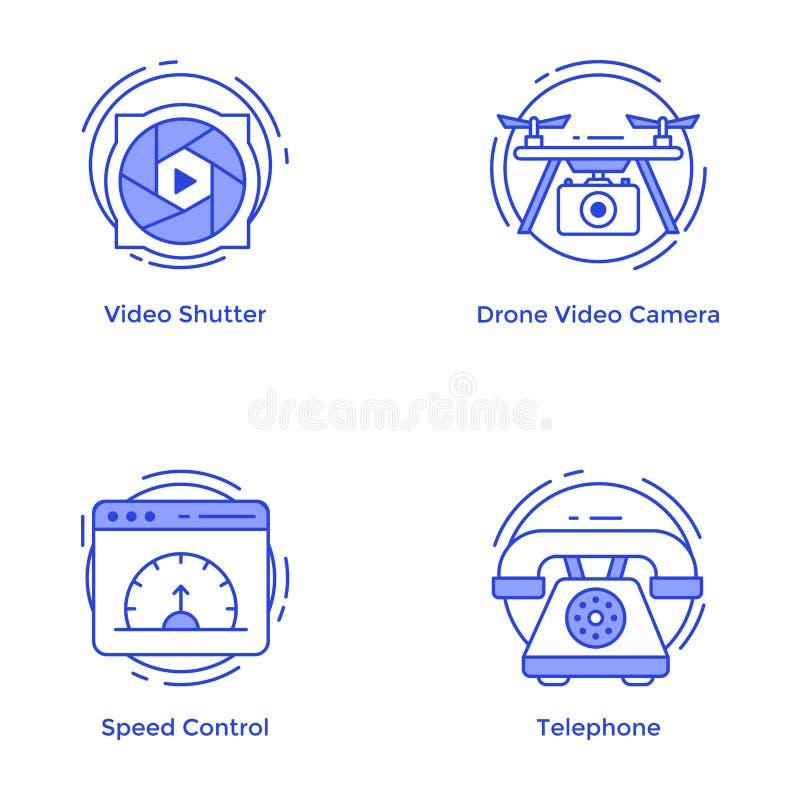 Πακέτο διανυσμάτων γραμμών τεχνολογίας και υλικού στοκ εικόνες με δικαίωμα ελεύθερης χρήσης