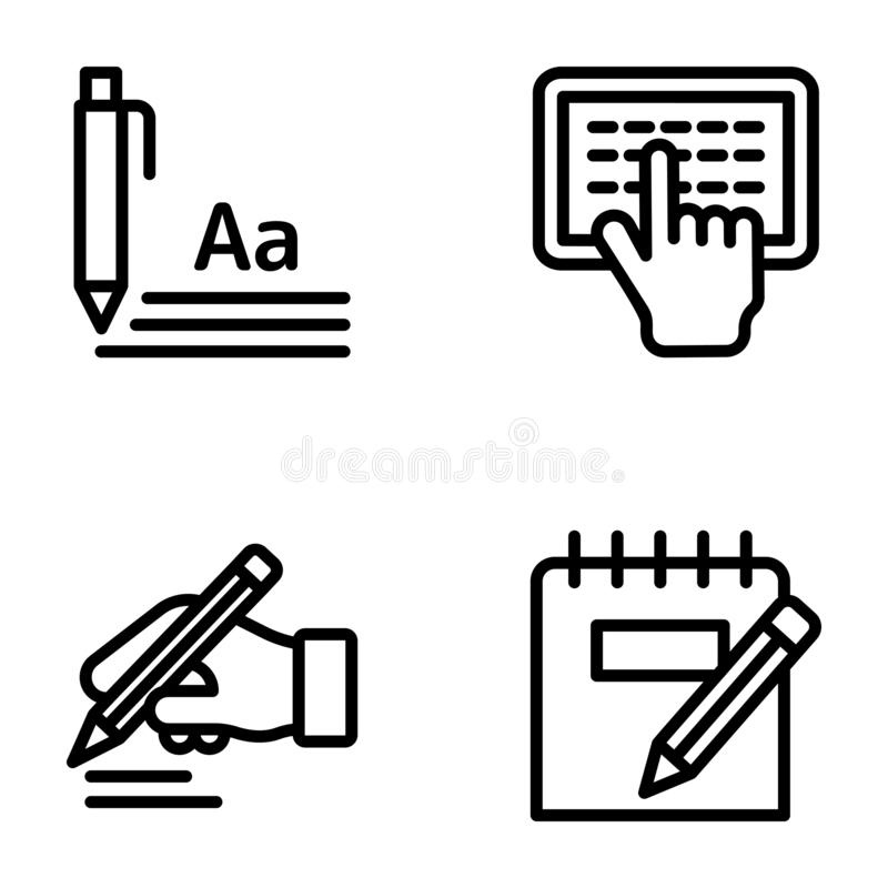 Πακέτο εικονιδίων γραμμών Blogging και γραψίματος ελεύθερη απεικόνιση δικαιώματος