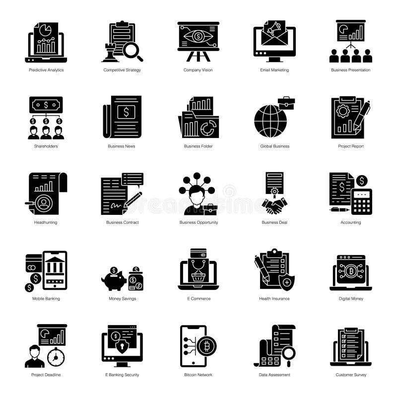 Πακέτο εικονιδίων με γέμισμα επιχειρηματικής ανάπτυξης διανυσματική απεικόνιση