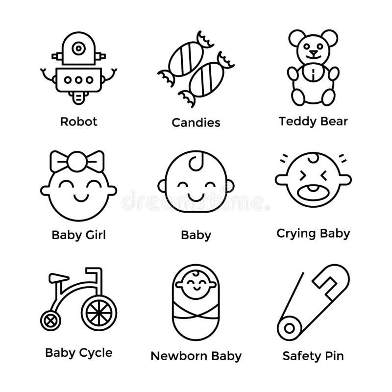 Πακέτο εικονιδίων μωρών απεικόνιση αποθεμάτων