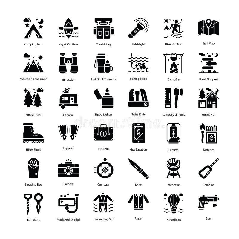 Πακέτο εικονιδίων Glyph τουρισμού στοκ εικόνα