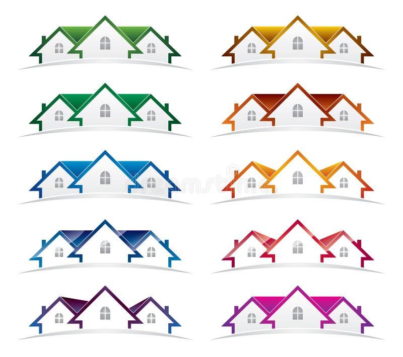 Πακέτο σχεδίου λογότυπων ακίνητων περιουσιών διανυσματική απεικόνιση