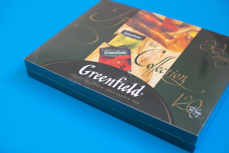 Πακέτο του τσαγιού Greenfield με πολλές διαφορετικές γεύσεις στοκ φωτογραφίες με δικαίωμα ελεύθερης χρήσης