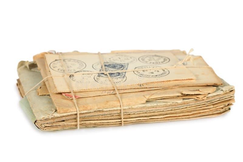 Πακέτο των εκλεκτής ποιότητας επιστολών που δένονται με το σχοινί στοκ εικόνες