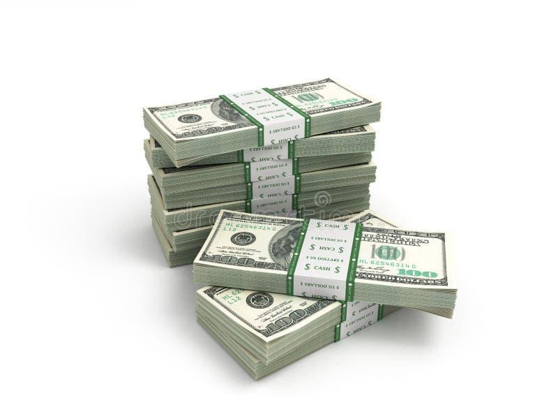 Πακέτο των λογαριασμών δολαρίων που απομονώνονται στο άσπρο bacground διανυσματική απεικόνιση