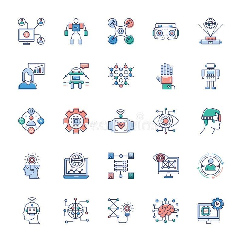Πακέτο των σύγχρονων εικονιδίων τεχνολογίας διανυσματική απεικόνιση