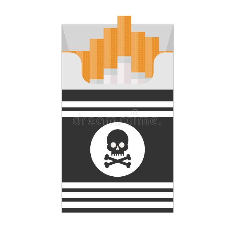 Πακέτο των τσιγάρων με το μαύρο κρανίο Απεικόνιση του σχεδιαστή στο άσπρο υπόβαθρο ελεύθερη απεικόνιση δικαιώματος