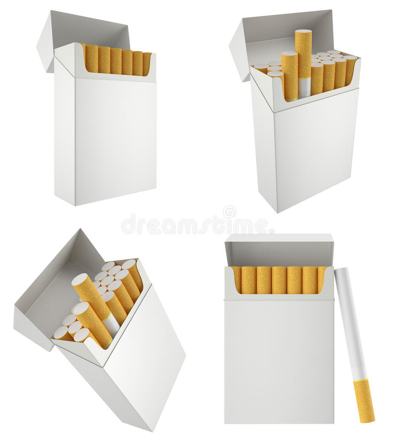 Πακέτο των τσιγάρων, που απομονώνεται στο άσπρο υπόβαθρο διανυσματική απεικόνιση