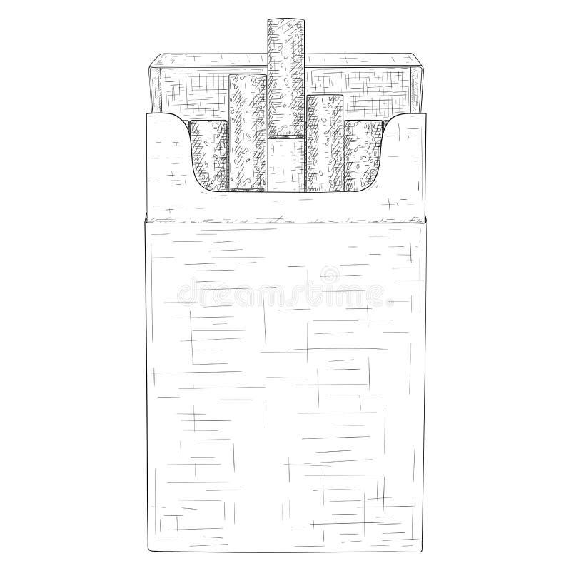 Πακέτο των τσιγάρων Συρμένο χέρι σκίτσο ελεύθερη απεικόνιση δικαιώματος