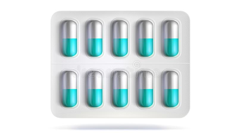 Πακέτο φουσκαλών με τα χάπια για την ασθένεια Ρεαλιστικό πρότυπο της συσκευασίας για τα ιατρικά φάρμακα για τις ταμπλέτες, βιταμί ελεύθερη απεικόνιση δικαιώματος