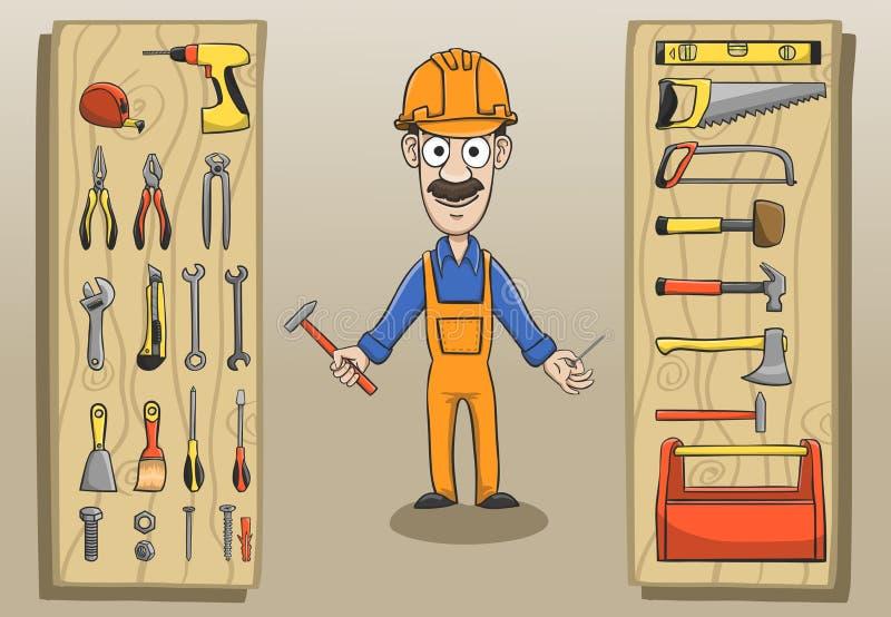 Πακέτο χαρακτήρα εργατών οικοδομών διανυσματική απεικόνιση